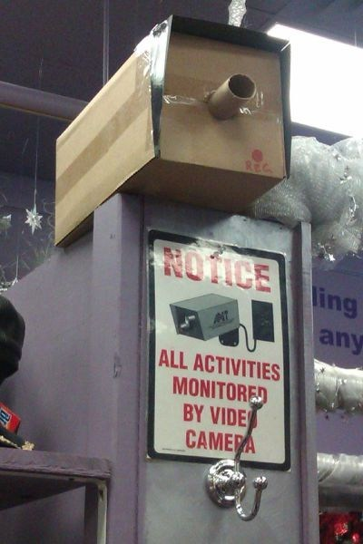 security cam,security cameras,funny,cardboard,g rated,there I fixed it