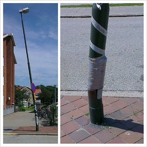 lamp post Gravity duct tape funny - 7579739136