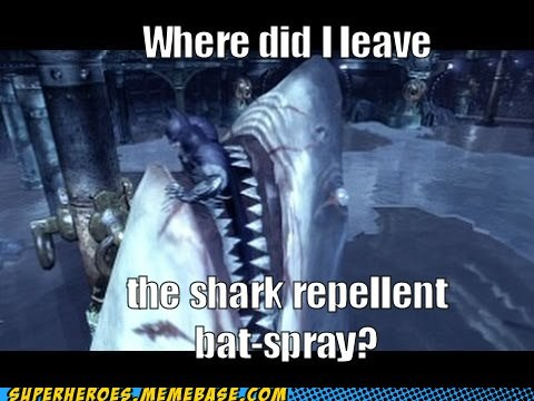 shark repellent bat spray,Arkham Asylum,batman,video games