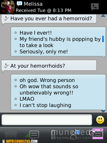 hemorroids,wrong person,funny