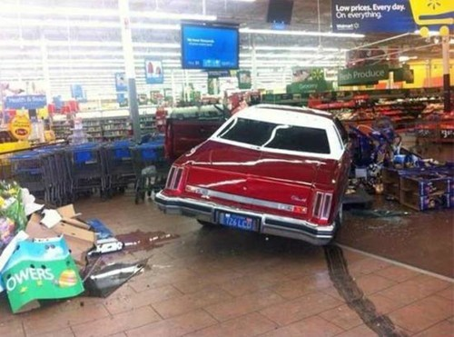 car crash Walmart low prices deals