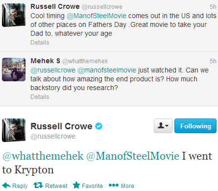 twitter movies Russell Crowe man of steel