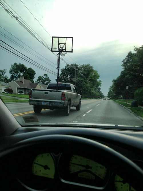 pickup truck,basketball hoop,funny,there I fixed it