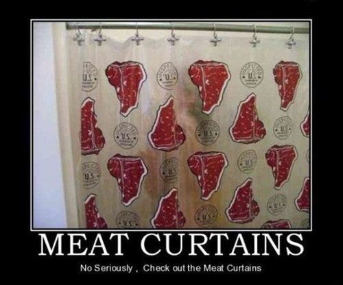 wtf shower curtains meat curtains funny - 7583334400