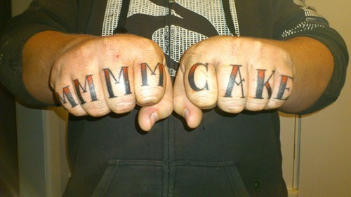 cake,knuckle tattoos,thug life,funny,g rated,Ugliest Tattoos