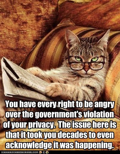 You have every right to be angry over the government's violation of your privacy. The issue here is that it took you decades to even acknowledge it was happening.