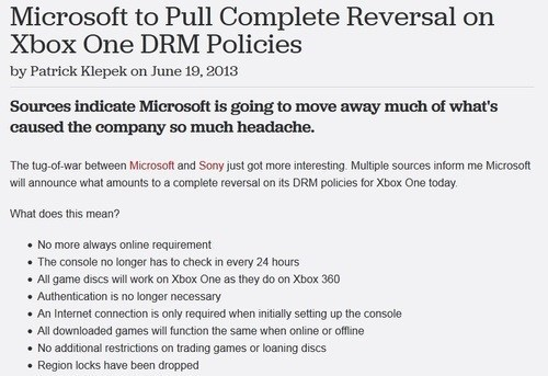 news giant bomb microsoft DRM xbox one Video Game Coverage