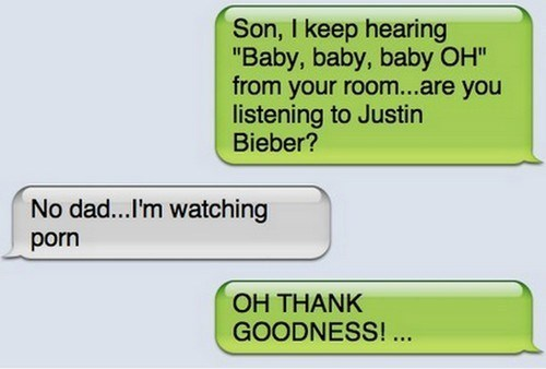 dads,Music,texting,funny,justin bieber