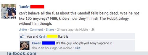 james gandolfini the sopranos ian mckellen gandalf The Hobbit failbook - 7587662080