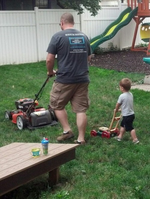 dads kids mowing the lawn like father like son funny - 7588841216