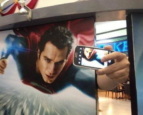 phone camera selfie funny superman g rated win - 7589560832