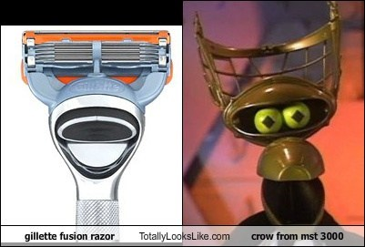 gillette fusion razor Totally Looks Like crow from mst 3000