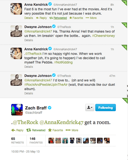 twitter Dwayne Johnson get a room fast and furious 6 anna kendrick Zach Braff the rock celeb failbook