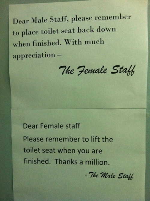 sign,work,funny,men vs women,toilet seat