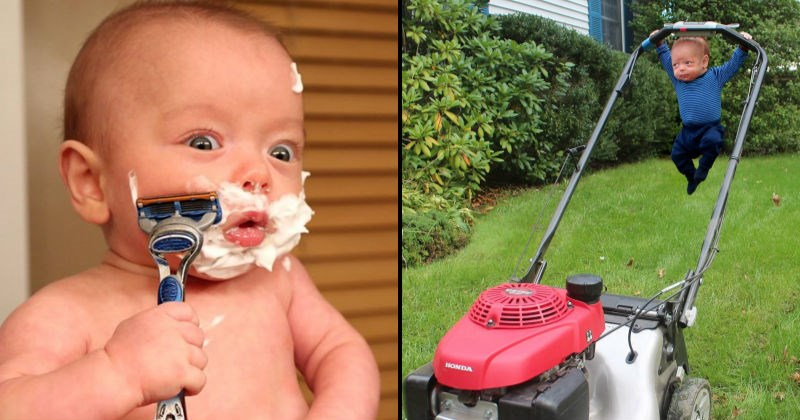 pictures baby fishing photoshop parenting lol dad chores lawnmower family manly funny son Father working out - 7593989