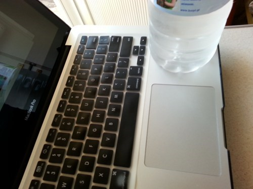 water bottle,laptop,funny,there I fixed it