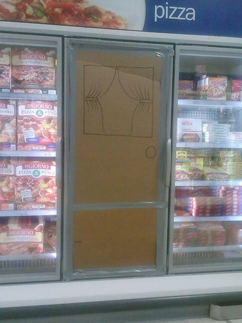 frozen section,cardboard doors,take on me,funny,g rated,there I fixed it