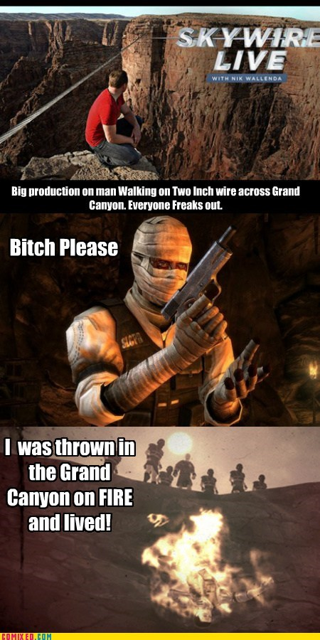 Videogames,grand canyon,fallout new vegas,funny,burned man