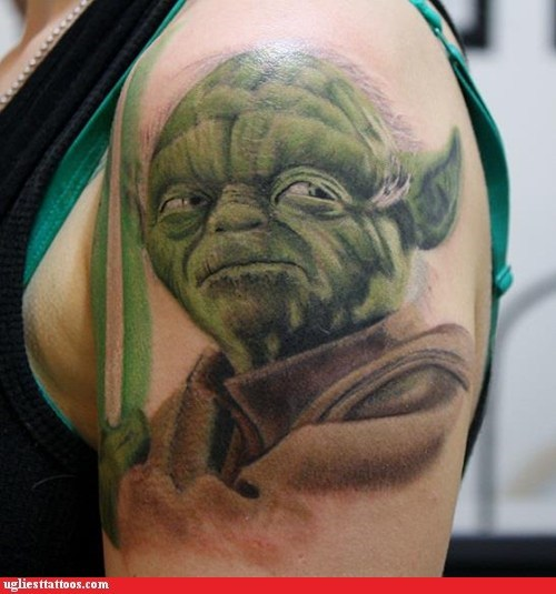 star wars tattoos yoda funny - 7600787968