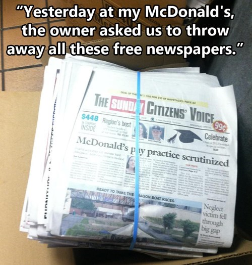 McDonald's,newspapers,monday thru friday,g rated
