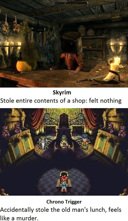 stealing,Chrono Trigger,video games,Skyrim