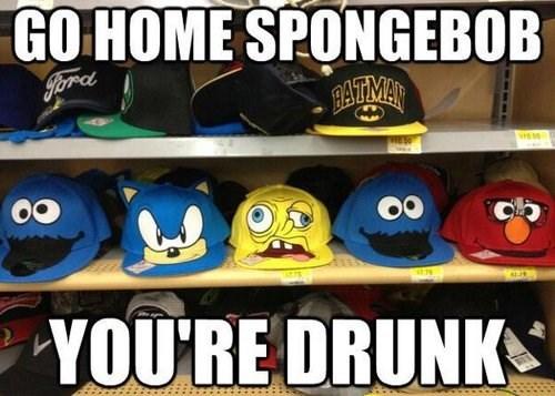 go home you're drunk wtf SpongeBob SquarePants hats - 7601574144