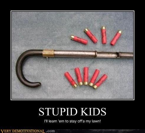 kids,shotgun,cane,old people,funny
