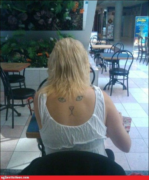 back piece,tattoos,Cats,funny,g rated,Ugliest Tattoos