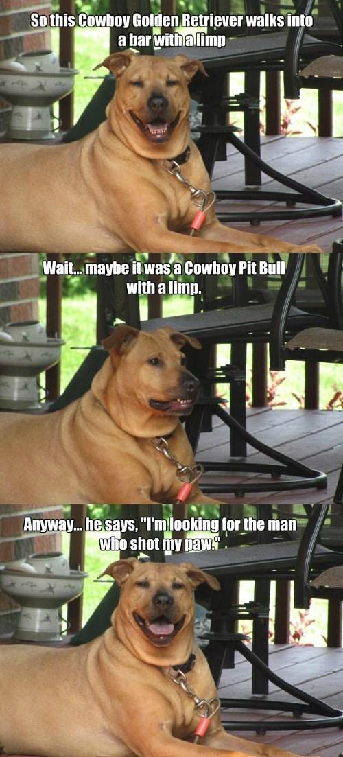 bad joke,paw,cowboy,funny