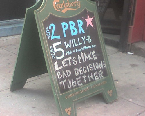 bar,sign,bad decisions,funny