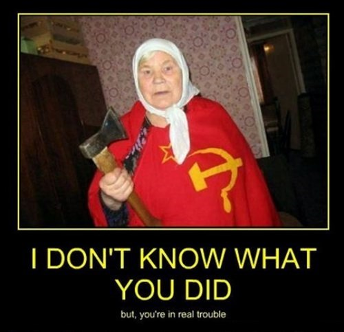 run,old lady,axe,funny,Soviet Russia