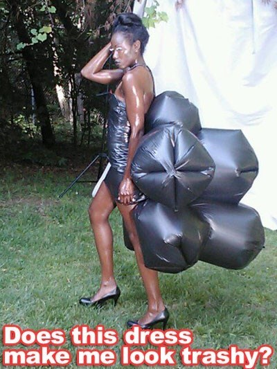 punny,funny,diy dresses,garbage bags