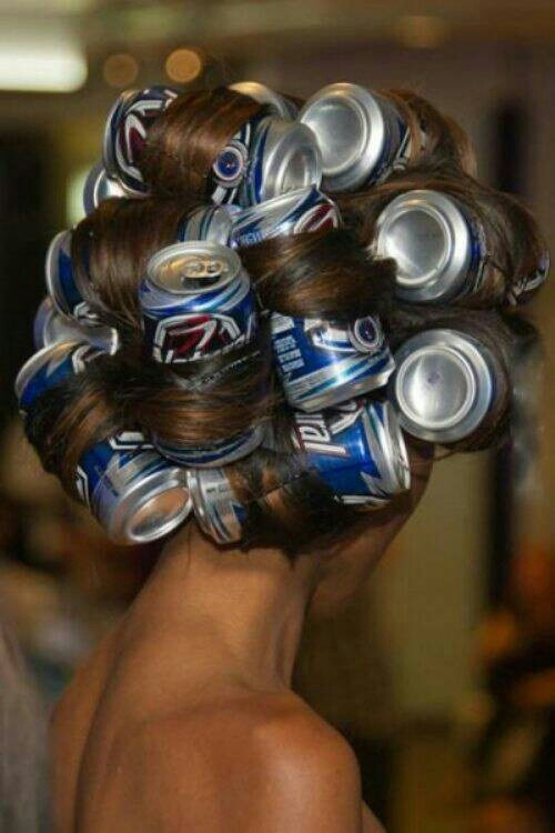 beer hair curlers funny