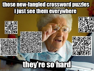 QR codes,Memes,old people,crosswords
