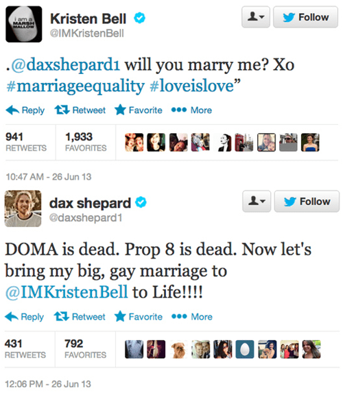 twitter gay marriage dax shepard kristen bell DOMA Proposition 8 - 7607320832