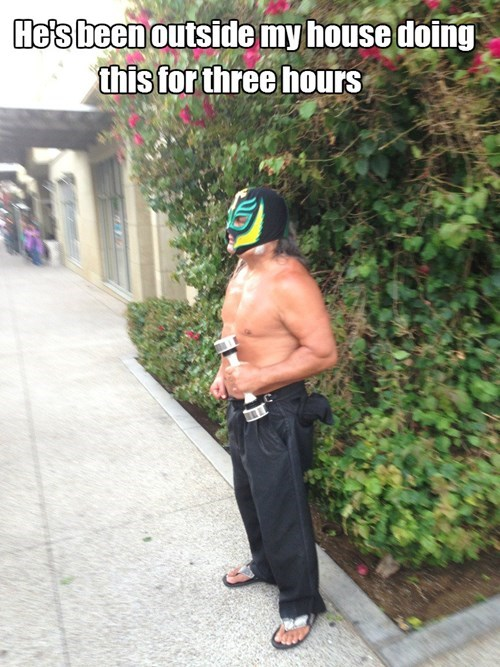 shake weight,luchador,what,funny,weird