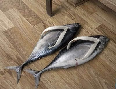 flip flops sandals fish punny funny - 7608131072