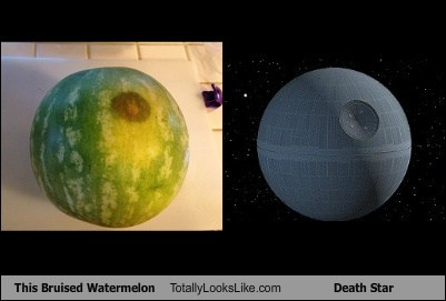 bruises,totally looks like,watermelon,Death Star,funny