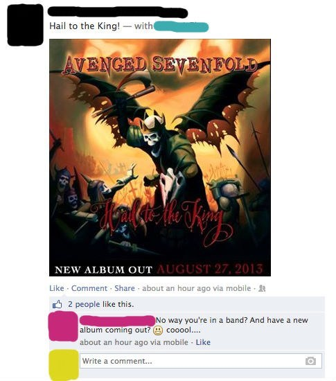 Music FAIL avenged sevenfold facebook funny g rated - 7608880128