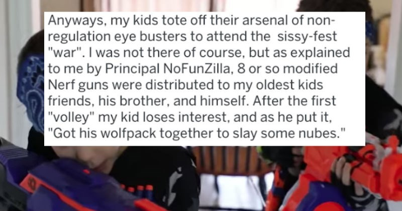 dad nearly gets kids expelled from nerf gun tactics