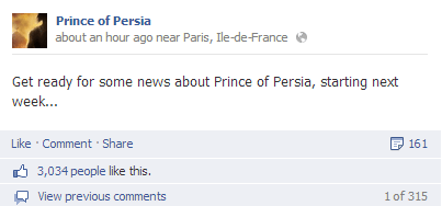 news Video Game Coverage prince of persia teasers facebook - 7612928000