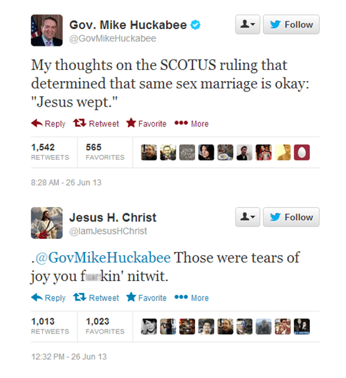jesus,Prop 8,jesus christ,gay marriage,Mike Huckabee,DOMA,scotus,jesus wept,failbook,g rated