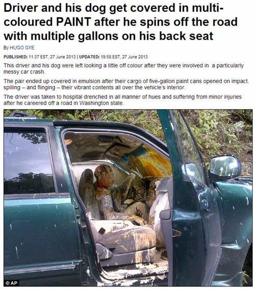 news paint headline car crash Probably bad News funny fail nation g rated - 7613911808