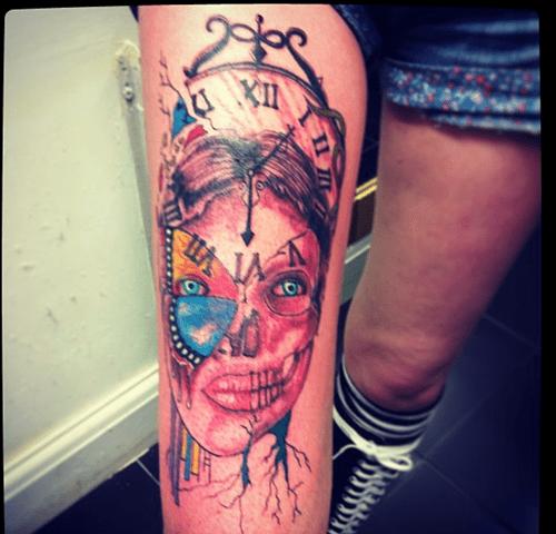 time clocks tattoos skulls funny - 7616553472