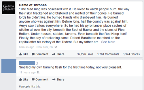 burning Game of Thrones sick burn burn - 7618134528