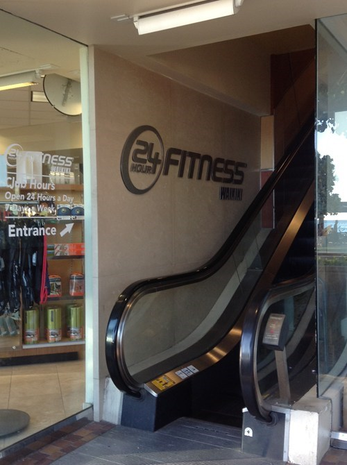 gym fitness escalator temporarily stairs irony funny - 7621734144