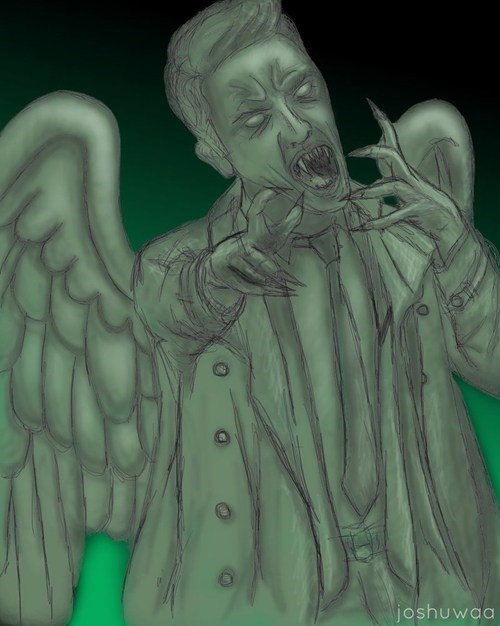 crossover,weeping angels,Fan Art,Supernatural,doctor who,castiel