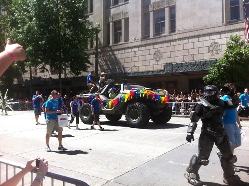 IRL master chief gay pride parade microsoft warthog