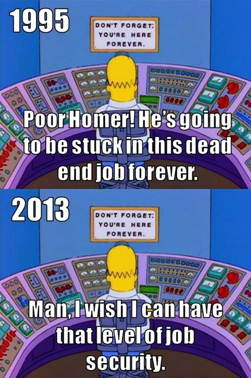 homer simpson,job security,the simpsons,monday thru friday,g rated