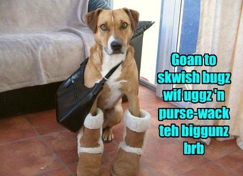 Goan to skwish bugz wif uggz 'n purse-wack teh biggunz brb